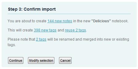 Confirm delicious import