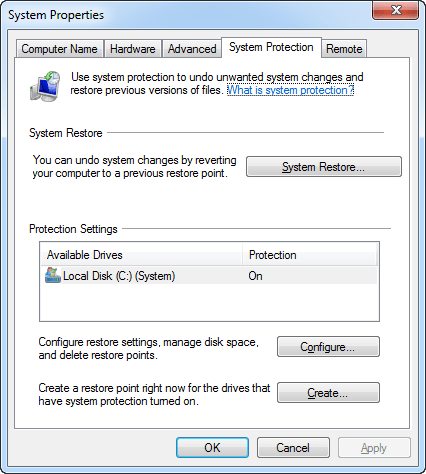 Windows System Protection settings