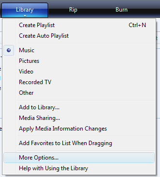 Windows Media Player more options