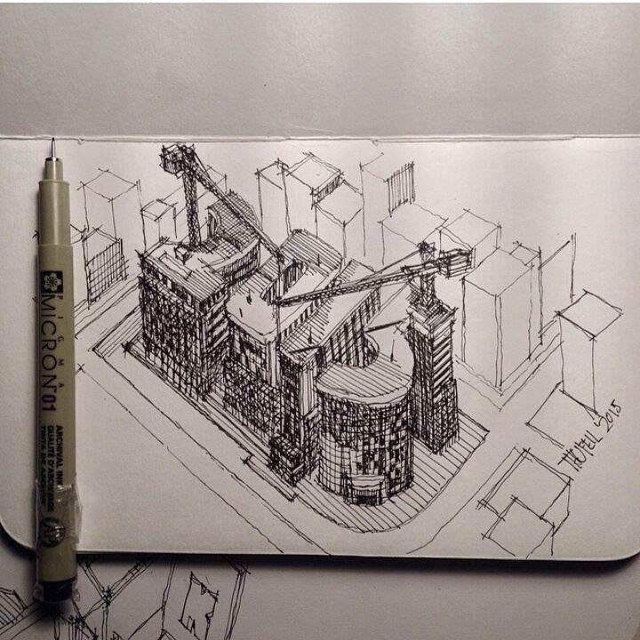 105建築設計師手稿作品
