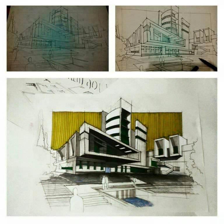 142建築設計師手稿作品