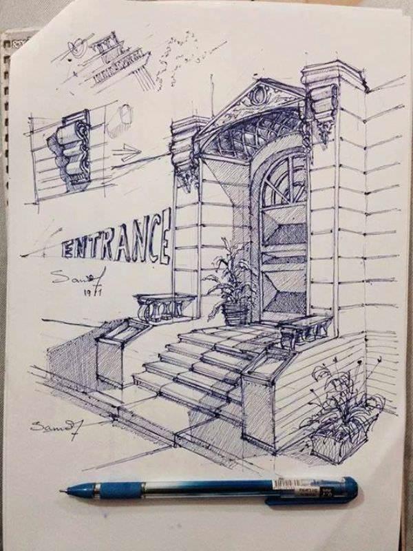 176建築設計師手稿作品