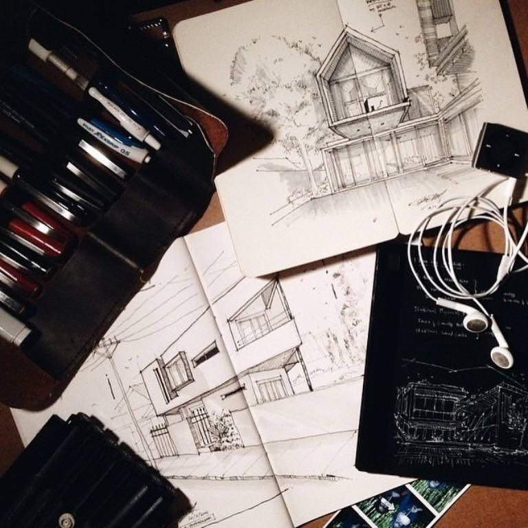 215建築設計師手稿作品