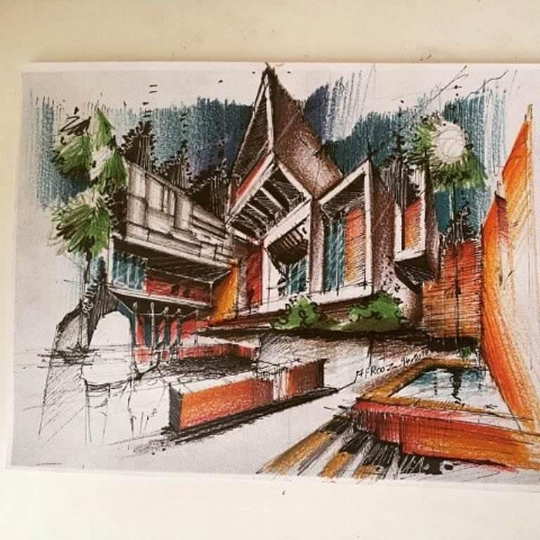 349建築設計師手稿作品