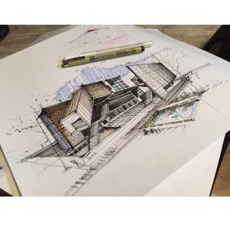 450建築設計師手稿作品