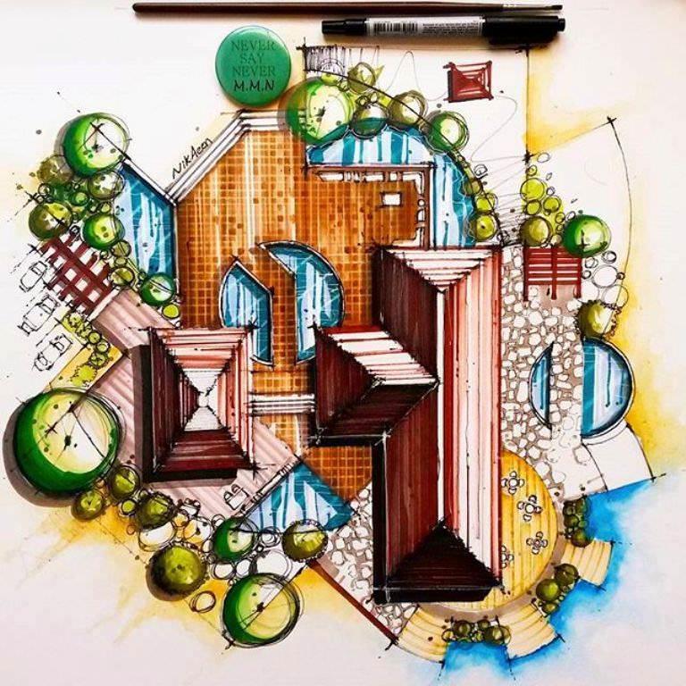 461建築設計師手稿作品