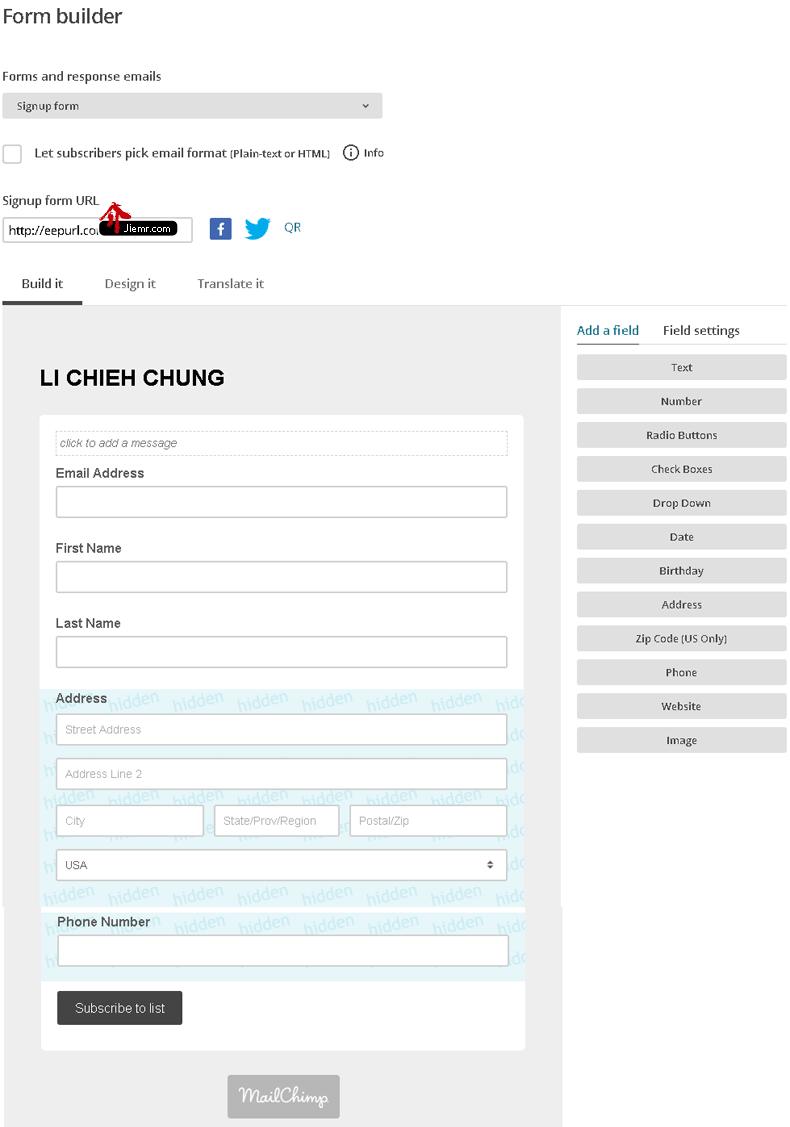 mailchimp訂閱頁面編輯器
