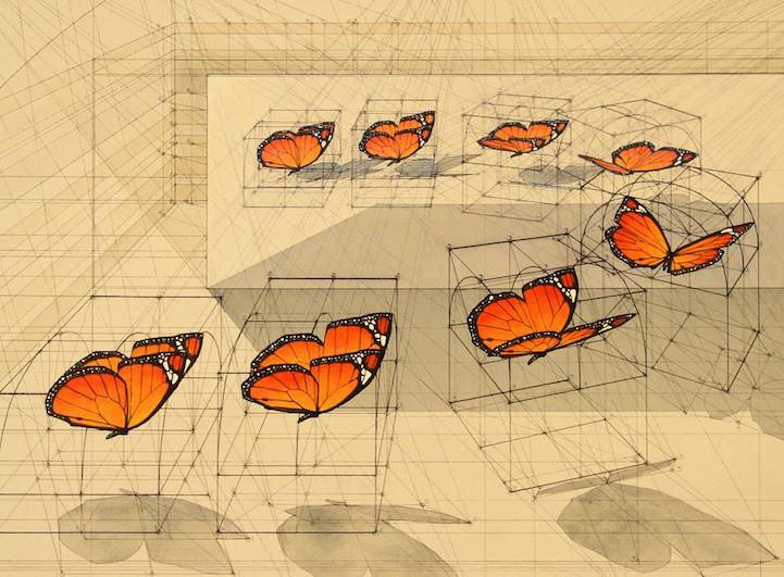 紅色蝴蝶手繪軌跡