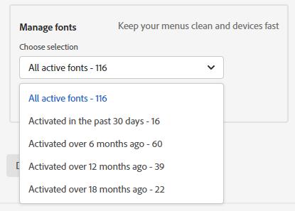最近安裝的Adobe字體