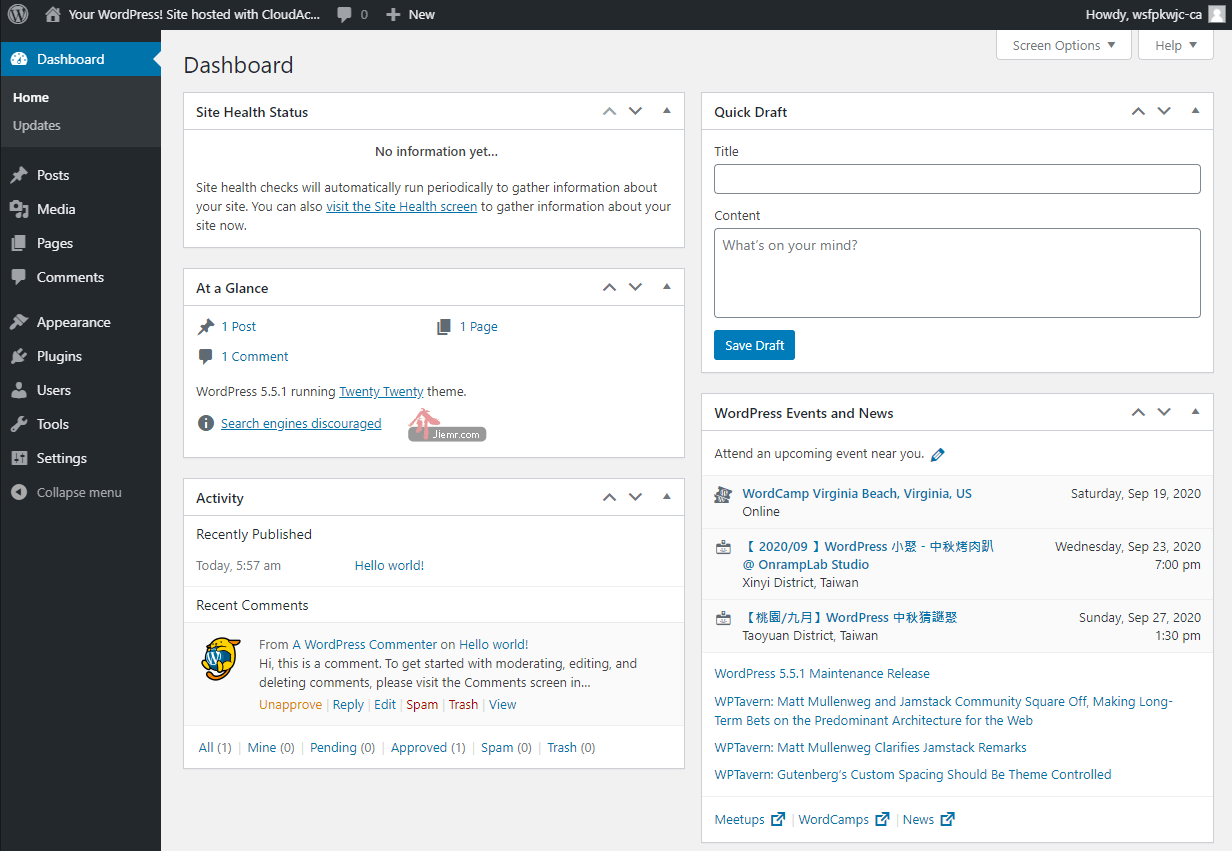 Wordpress後台介面