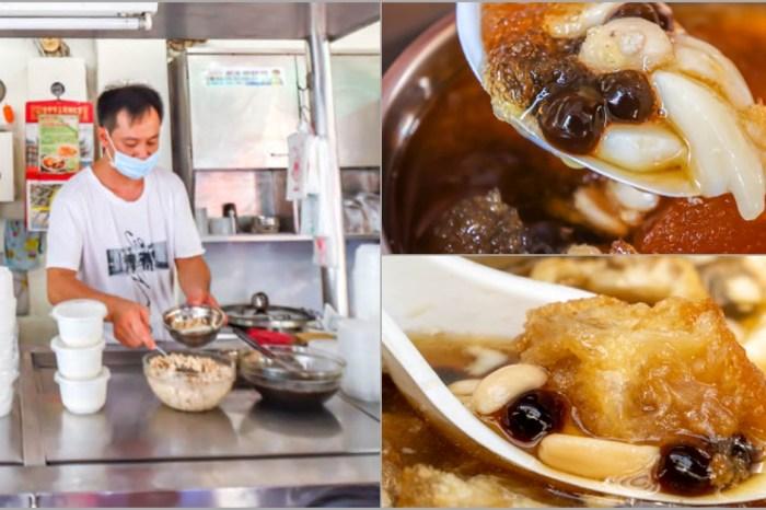 台中烏日,隱身市場的台灣味豆花,吃起來帶有黑糖香的豆花。