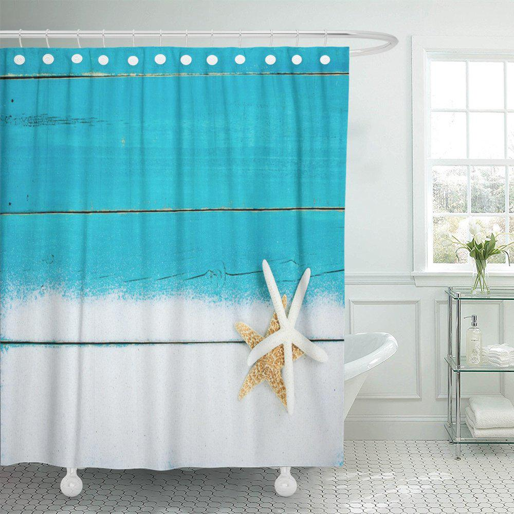 gold and white starfish in sand border on antique rustic teal blue wood blank wooden beach sign shower curtain 60x72inch 150x180cm