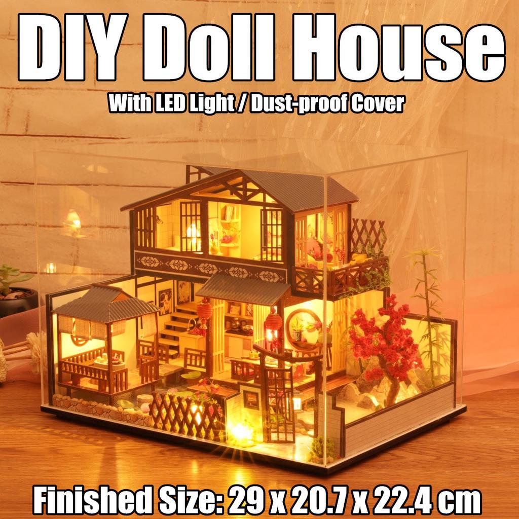 japanese building model led light miniature dollhouse courtyard furniture kits
