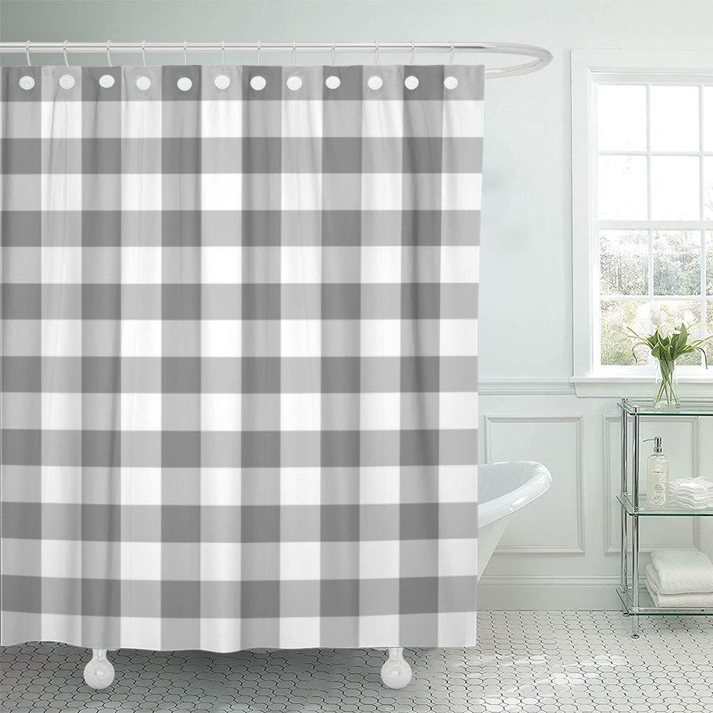 plaid gray and white gingham check pattern checked checkered shower curtain 60x72inch 150x180cm