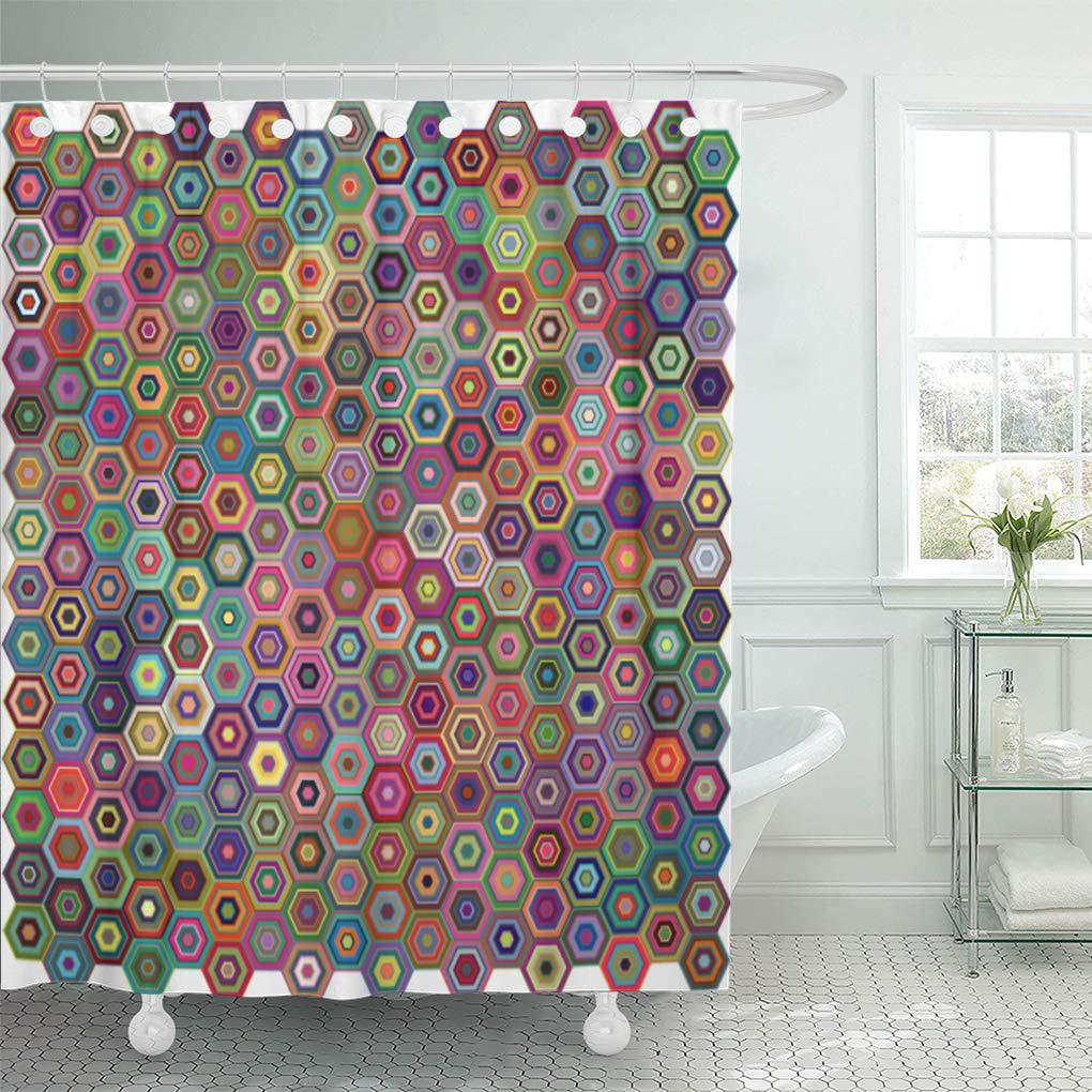 colorful red quilt abstract geometric hexagons blue carpet green shower curtain 66x72inch 165x180cm