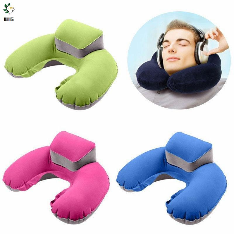 wig portable handy travel inflatable neck pillow u shape blow up neck cushion pvc support pillow