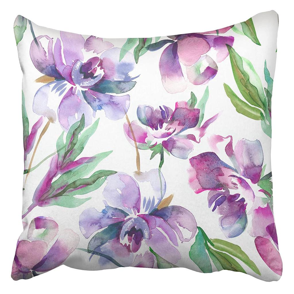 purple floral peonies watercolor colorful water color flower paint japanese abstract pillowcase cushion cover 16x16inch 40x40cm