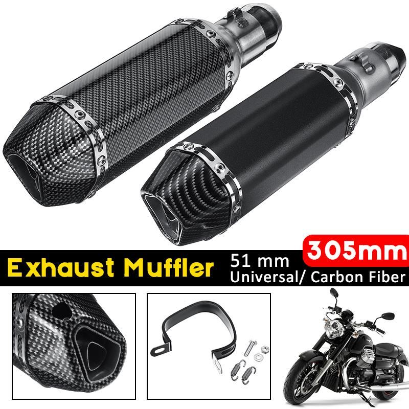 black carbon pattern universal motorcycle motorbike carbon exhaust muffler removable silencer