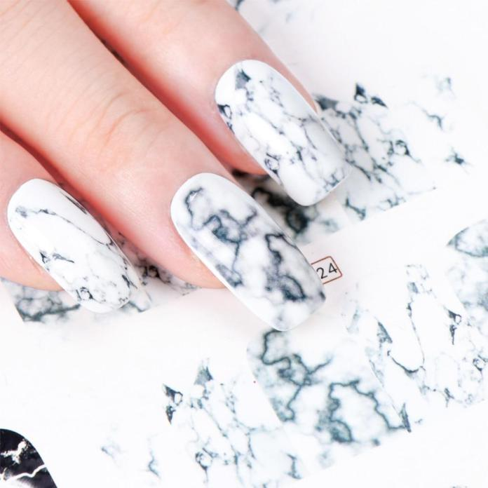 Buy 12pcs White Black Gradient Marble Nail Art Sticker Water Transfer Decal Watermark Slider Manicure At Affordable Prices Price 2 Usd Free Shipping Real Reviews With Photos Joom