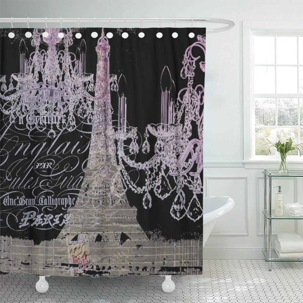 landscape scripts chandelier paris eiffel tower parisian love french shower curtain 60x72inch 150x180cm