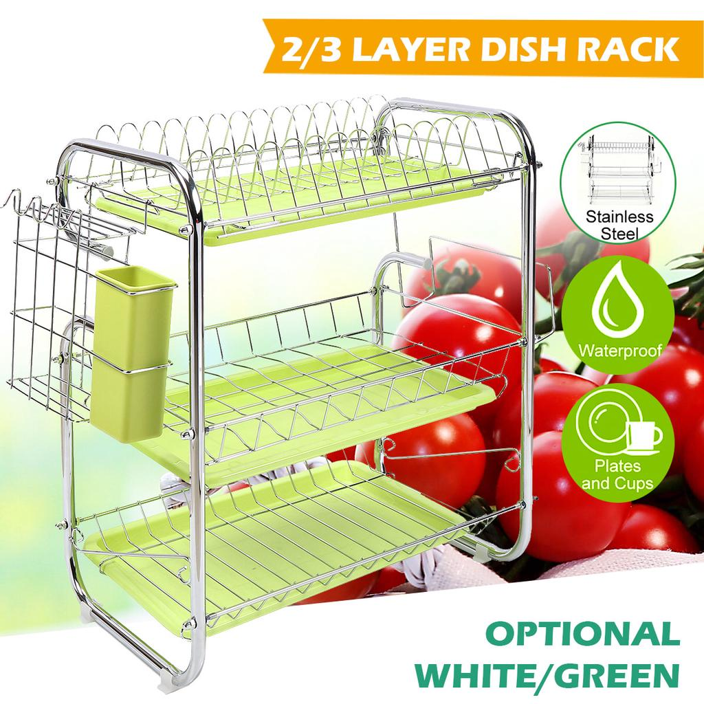 2 3 tiers stainless steel multifunction 2 tier dish drying rack holder basket stainless steel home