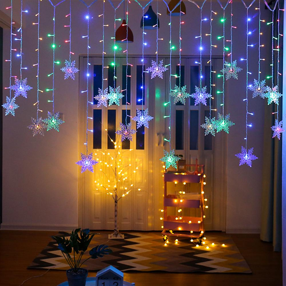 led christmas curtain lights snowflake outdoor indoor fairy string lights christmas decoration