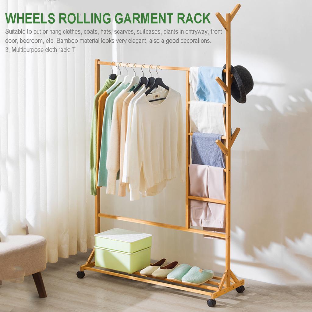 wooden rack storage garment coat clothes stand shoe bag hat hanger bamboo holder