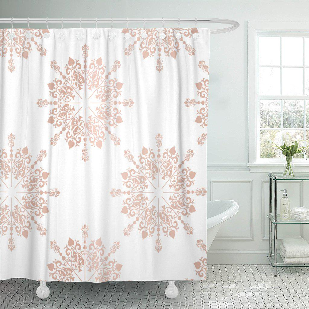 pink blush rose gold large floral lace toile pattern shower curtain 60x72inch 150x180cm