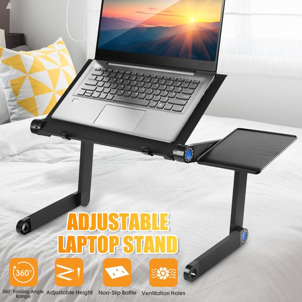adjustable aluminum laptop desk ergonomic portable tv bed lapdesk tray pc table stand notebook table desk stand with mouse tray