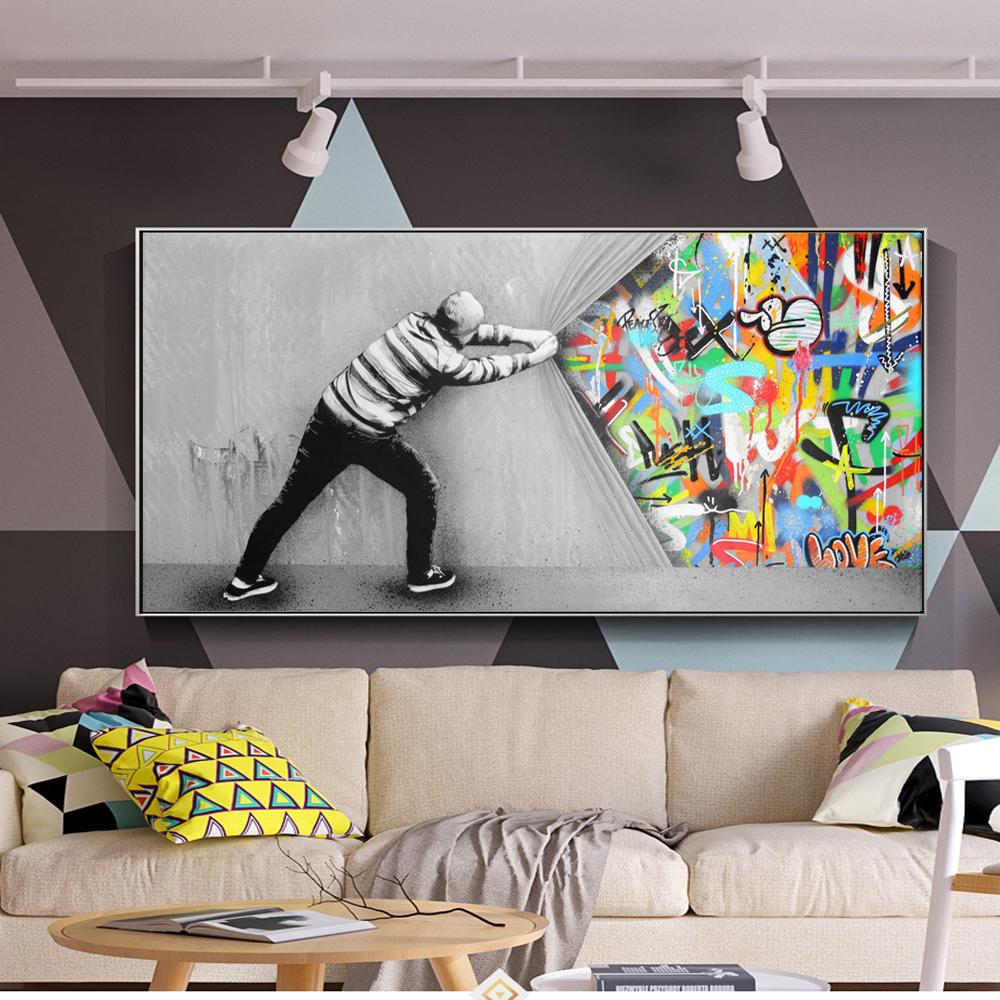 graffiti art wall pictures for living room behind the curtain street art canvas paintings on the wall posters and prints quadros