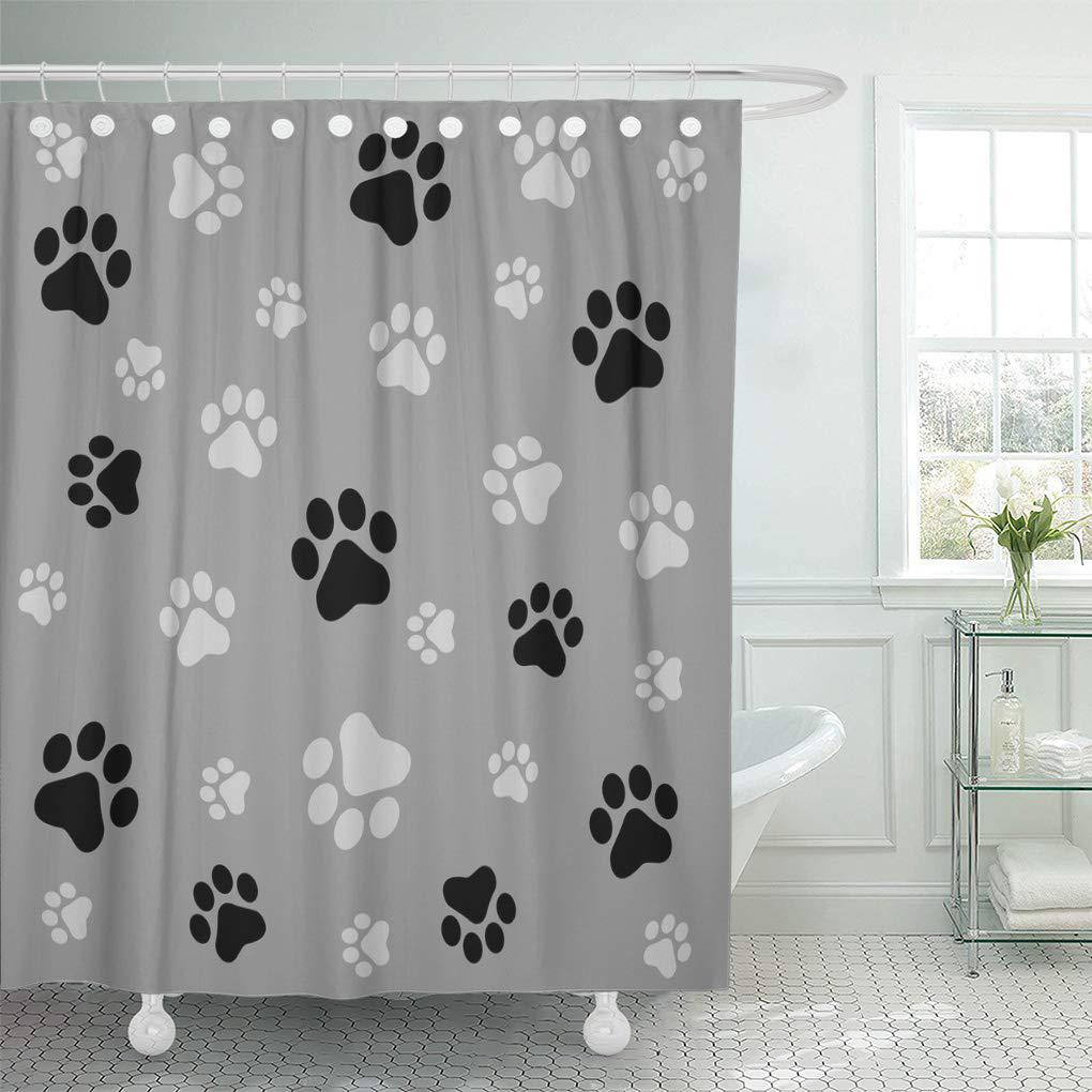 colorful pawprint dog paw black and gray color pattern shower curtain 66x72inch 165x180cm