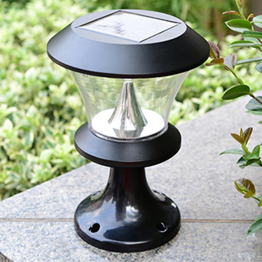 8 led round solar pillar lamp garden wall door post lamp outdoor landscape light