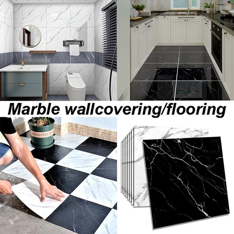 3d waterproof marble tile sticker removable self adhesive wallcovering flooring wall stickerkitchen bathroom decor