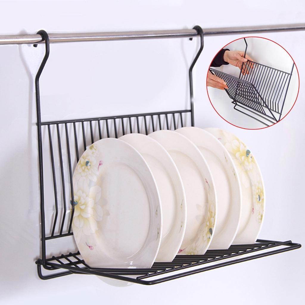 no drill foldable kitchen black wall hanging dish storage shelf organizer rack holder