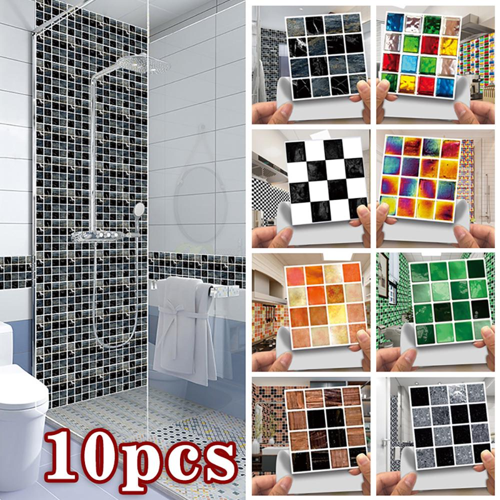 10pcs diy waterproof tiles mosaic wall sticker kitchen bathroom art decal decor