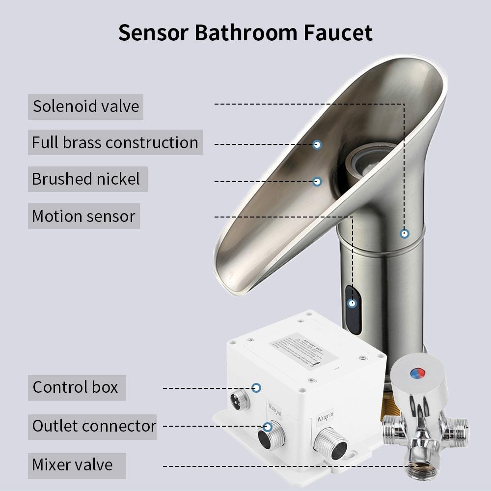 automatic touchless sensor bathroom sink faucet waterfall 3 color led