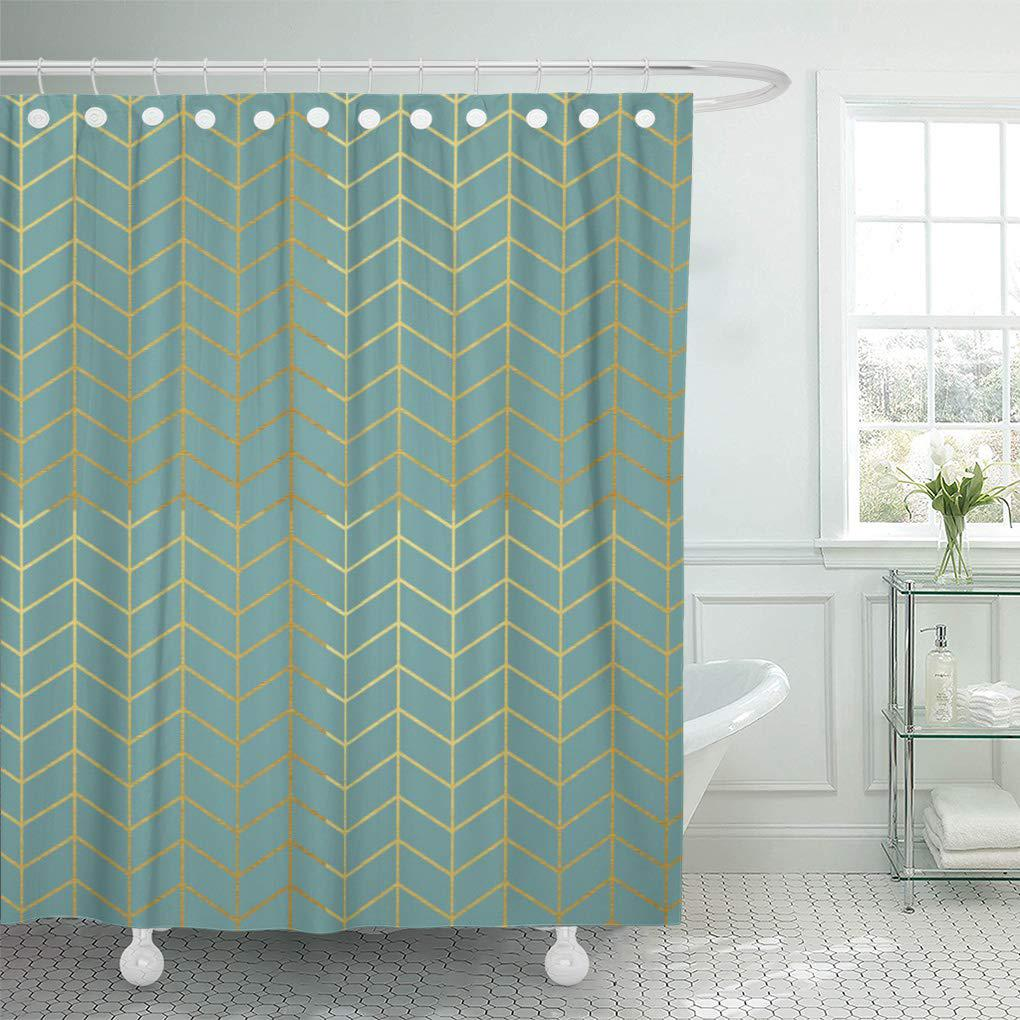 modern herringbone pattern faux gold teal geometric seafoam shower curtain 60x72inch 150x180cm