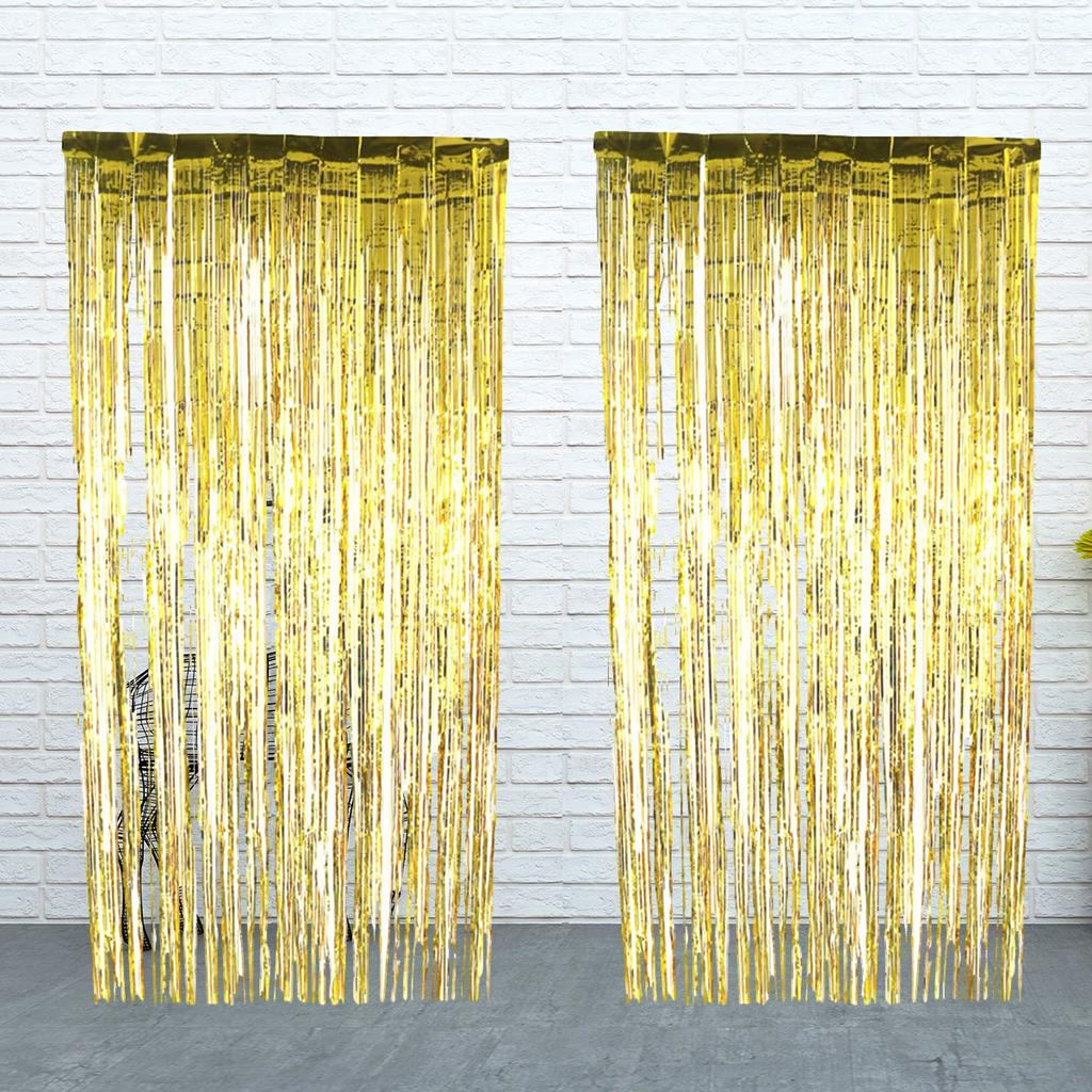 2pcs metallic foil fringe curtain ornaments shining hangings gold fashions fringe curtains for wall