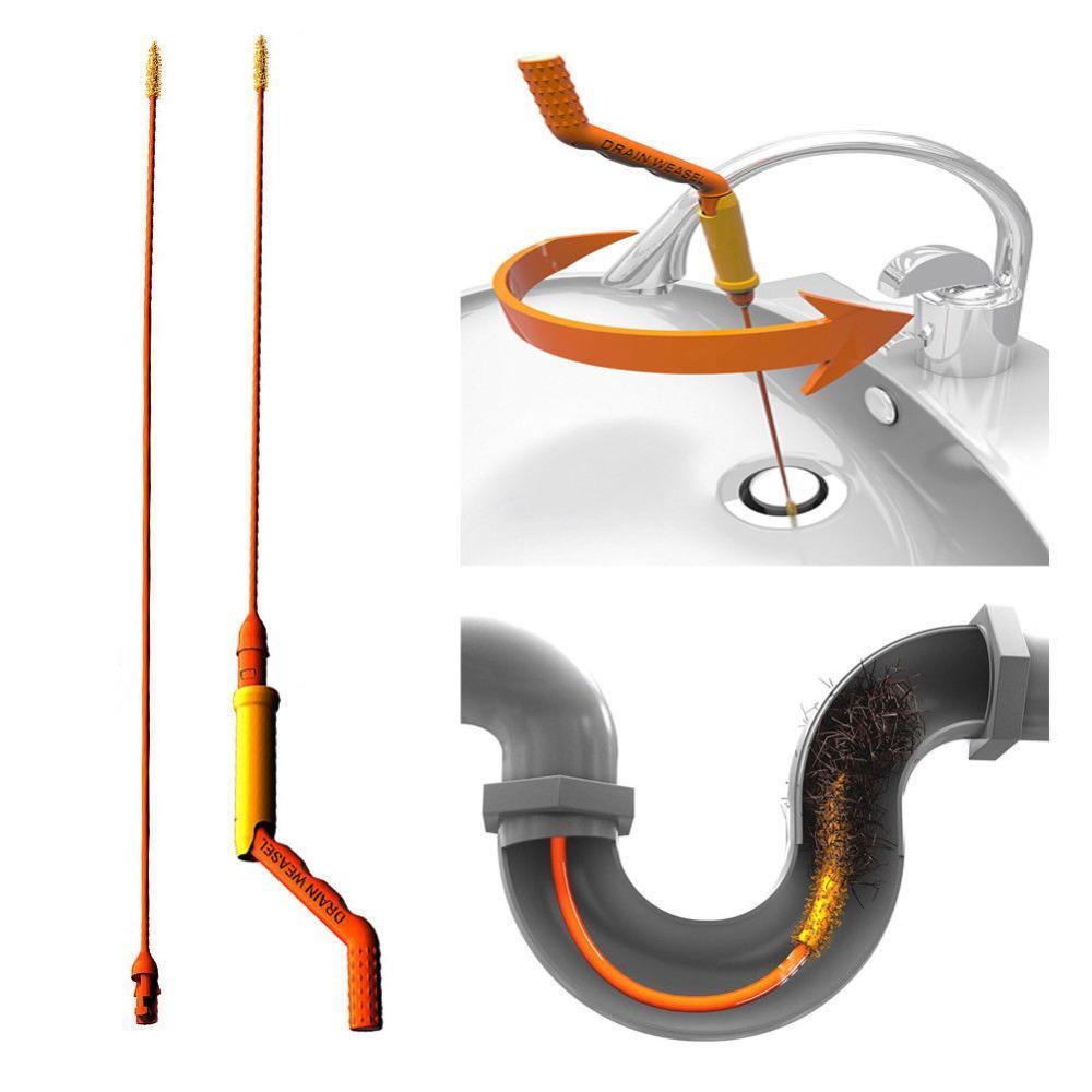 slim drain weasel hair removal anti clog tool flexible twist sink bathroom tube