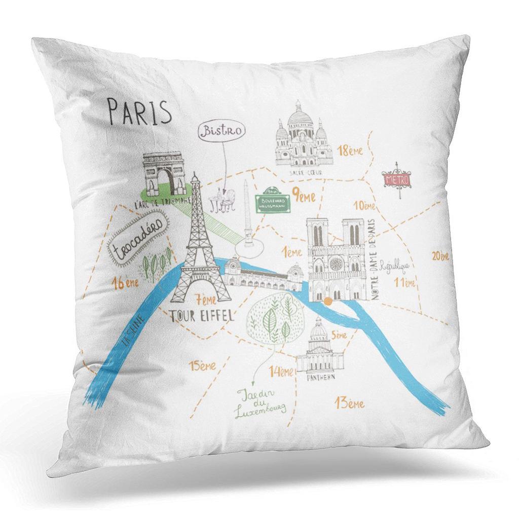 blue city simple cartooned map o paris with legend france architecture pillow case cover 20x20inch 50x50cm