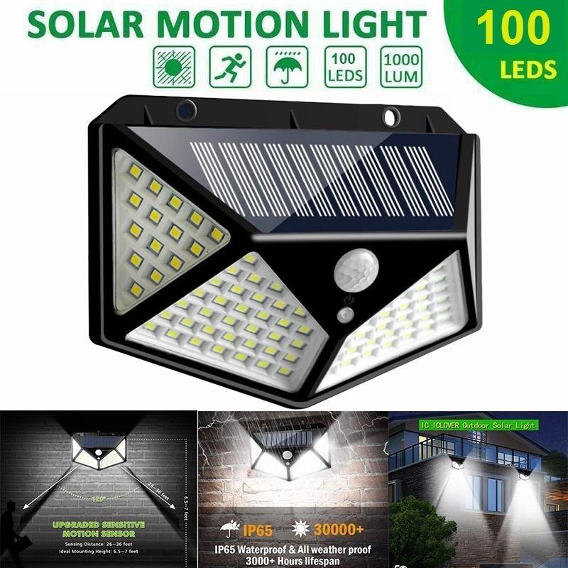100 led 4 surface solar light 3 modes 120 degree motion sensor solar outdoor waterproof garden light