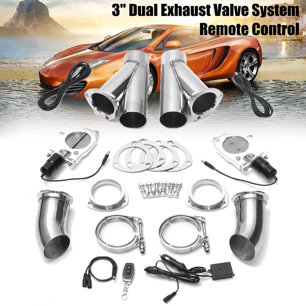 car auto vehicle dual 3 inch 76mm exhaust valve catback downpipe cutout e cut system switch control