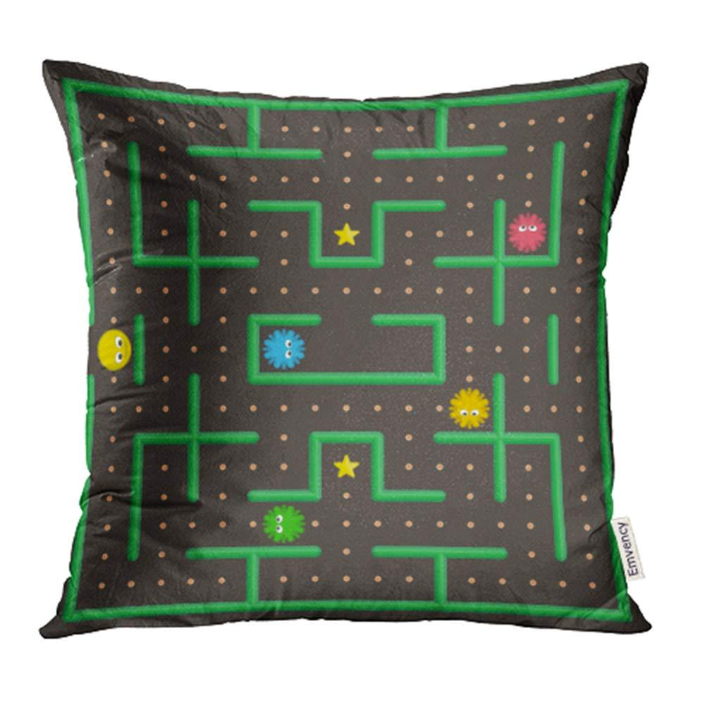 pac man analog game with ghosts modern arcade video interface world computer mobile pillowcase cushion cover 18x18inch 45x45cm