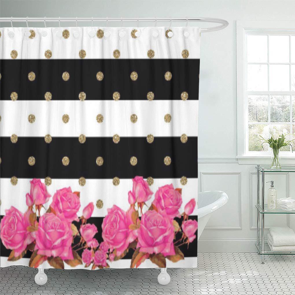 gold elegant black white stripes pink polka dots flowers shower curtain 66x72inch 165x180cm
