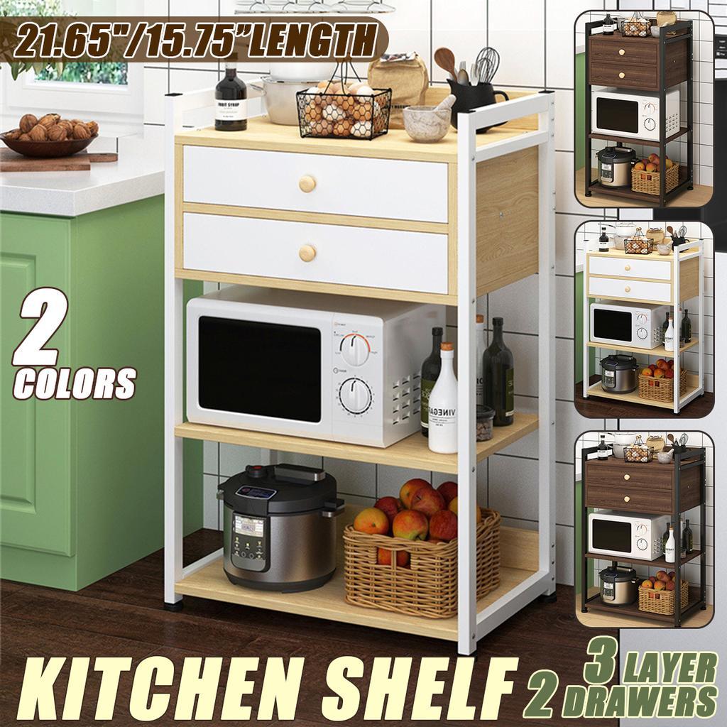 kitchen storage shelf shelves rack organiser microwave dish cabinet cupboard