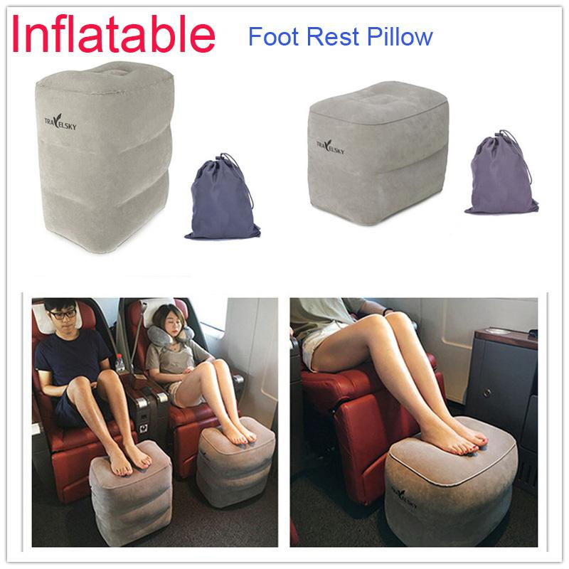 plane train flight travel inflatable foot rest pad footrest pillow