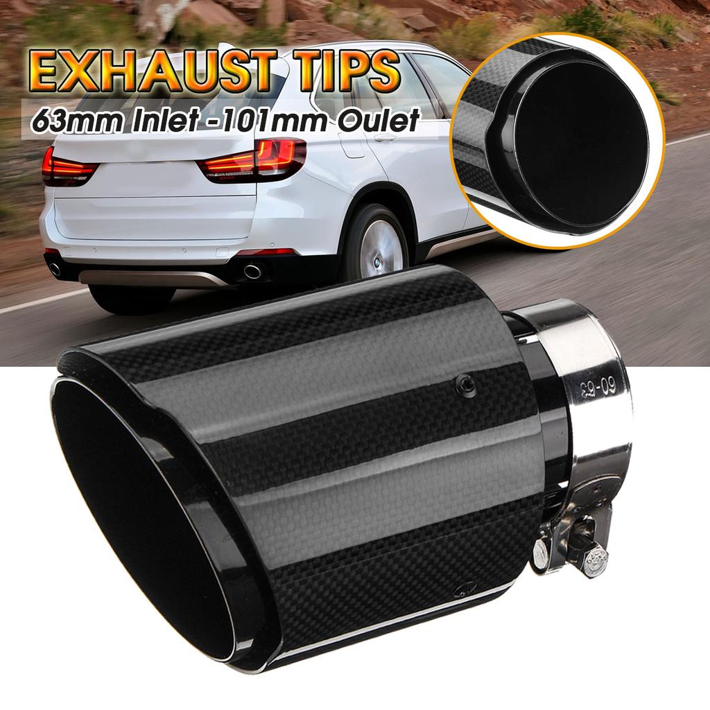 id 2 5 od 4 63mm 101mm universal carbon fiber rear exhaust pipe muffler end tips gloss for car