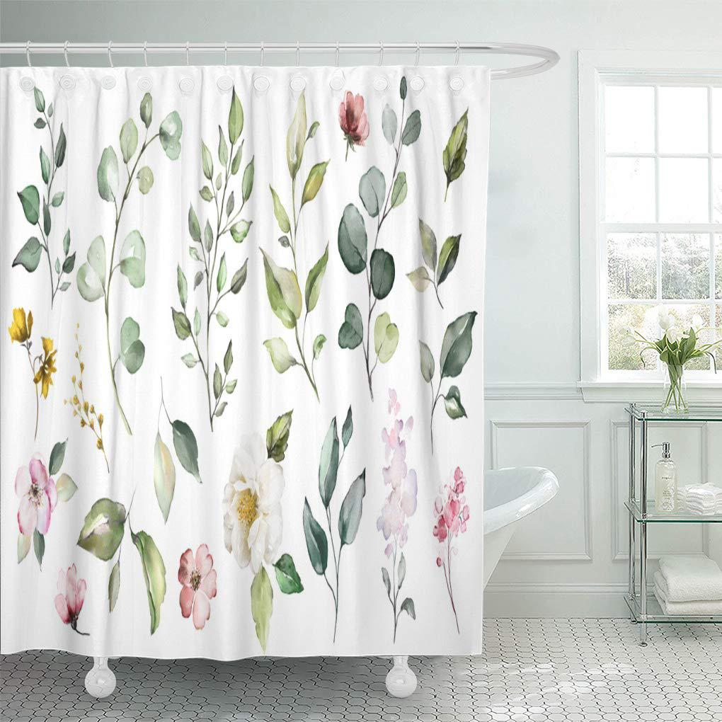 big watercolor wildflowers herbs leaf collection garden and wild forest flowers bath shower curtains 60x72inch 150x180cm