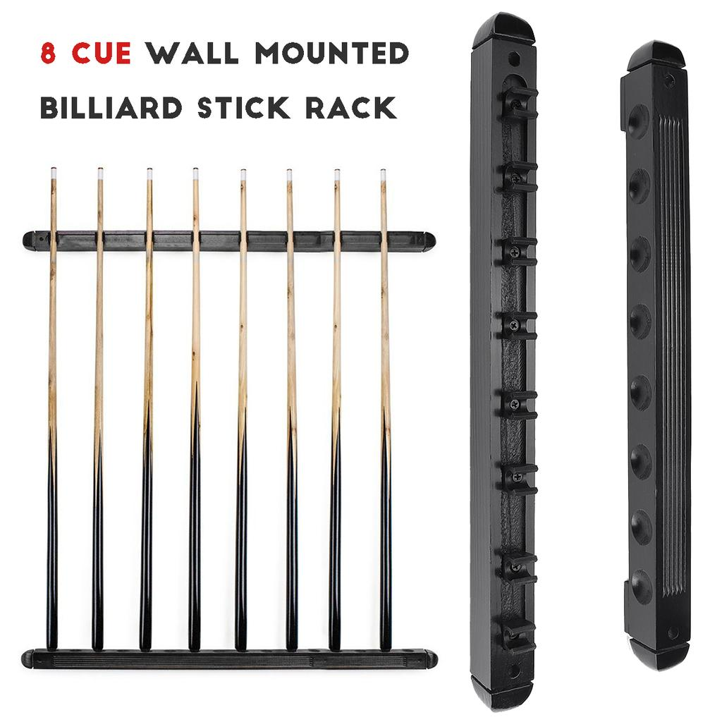 48cm 8 clips billiard pool wood rack holder wall mounted hanging professional 6 cue sticks snooker accessories billiard cue rack buy at a low prices