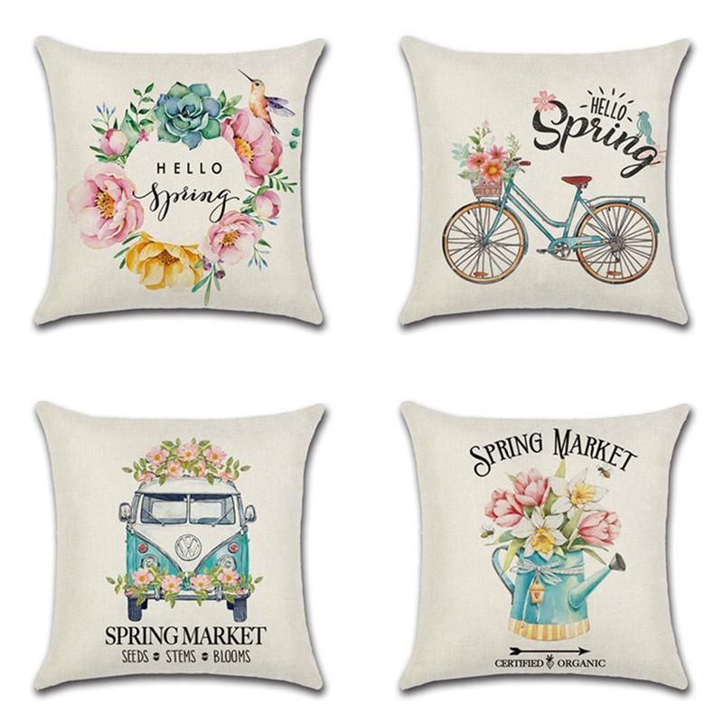 home decor cushion cover hello spring flowers bike bus throw pillowcase pillow covers
